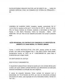 Petição De Ação Revisional De Consorcio Abstract Sidneyadv
