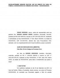 Modelo Petição Inicial Execução De Alimentos Trabalho