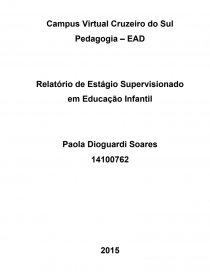 Relatório Estágio Educação Infantil Trabalho Acadêmico