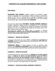 Contrato De Locação Residencial Com Caução Ensaio Gouvea