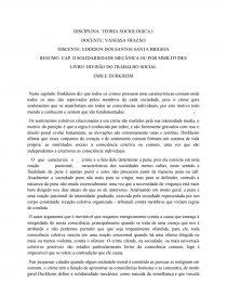 Cap II Solidariedade Orgânica Ou Por Similitudes - Trabalho acadêmico -  Santosedercs