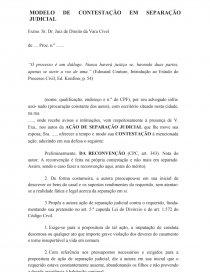 Modelo De Contestação Em Separação Judicial Artigo