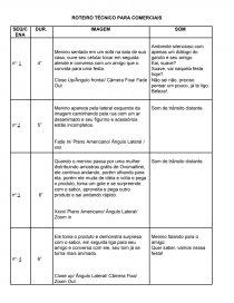 Modelo Roteiro Técnico Para Comerciais Trabalho Acadêmico